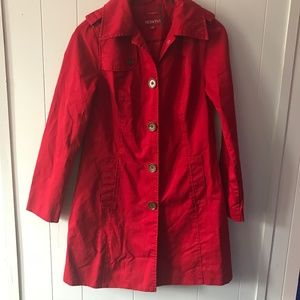 Red Raincoat, Red Coat, Peacoat Style Raincoat